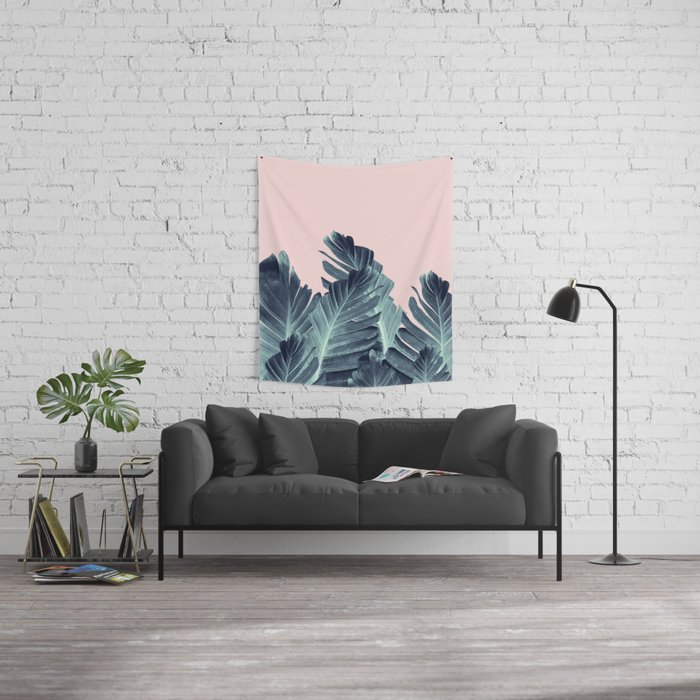 Blush Navy Blue Banana Leaves Dream #1 #tropical #decor #art #society6 Wall Tapestry