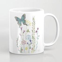 Wild & Free (Green Butterfly & Wildflowers Coffee Mug
