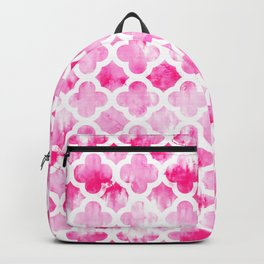 Modern neon pink tie dye watercolor quatrefoil pattern Backpack