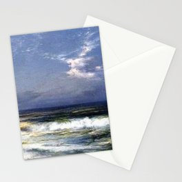Moonlit Beach Seascape No. 1 landscape painting by Thomas Moran Stationery Cards