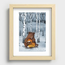 Bear and fox Recessed Framed Print