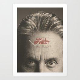 Wall Street, alternative movie poster, Gordon Gekko, Oliver Stone, film, minimal fine art playbill Art Print