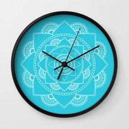 Mandala 01 - White on Turquoise Wall Clock
