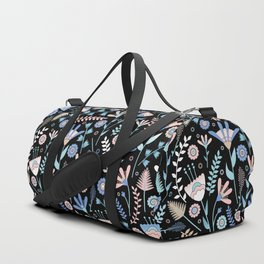 Folk floral pattern / pastel on black Duffle Bag