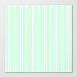 White Pinstripe on Summermint Green Canvas Print