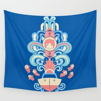 deco Wall Tapestries featuring Ponyo Deco by Ashley Hay
