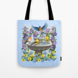 Bird Fountain Flower Garden Gathering Tote Bag