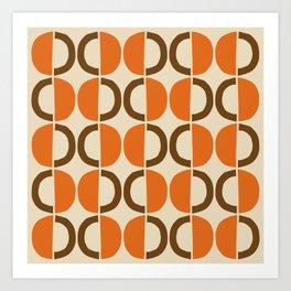 Mid Century Modern Half Circle Pattern 521 Beige Orange and Brown Art Print