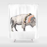strong Shower Curtains featuring White Bison by Sandra Dieckmann