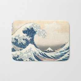 The Great Wave off Kanagawa by Katsushika Hokusai from the series Thirty-six Views of Mount Fuji Bath Mat