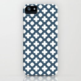 Dusky Blue Stars & Crosses Pattern iPhone Case
