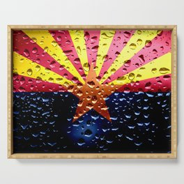 Flag of Arizona - Raindrops Serving Tray