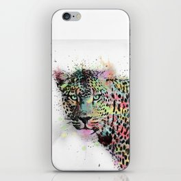 Cool leopard animal watercolor splatters abstract paint iPhone Skin