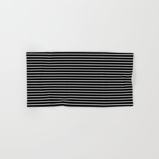 Horizontal Lines (White/Black) Hand & Bath Towel