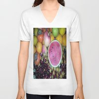 fruits V-neck T-shirts featuring SIMPLY FRUITS by Annie Koh