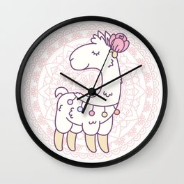 Cute white llama with a flower on its head Wall Clock
