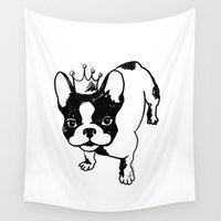 french bulldog Wall Tapestries featuring French bulldog by Pendientera
