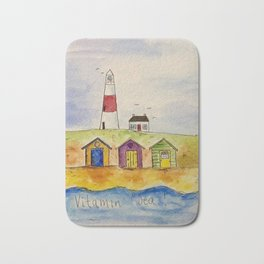 Beach huts and seaside. Bath Mat