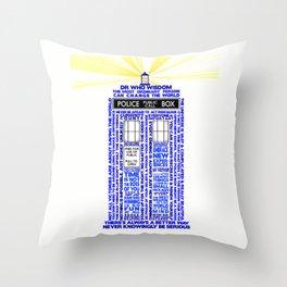 Doctor Who TARDIS Words of Wisdom Throw Pillow