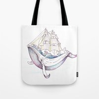 the whale Tote Bags featuring whale by Ana Grigolia