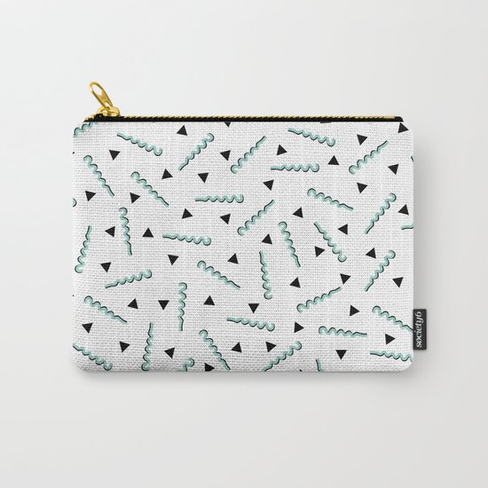 Retro Memphis Pattern Squiggle Green and Black Triangles Carry-All Pouch