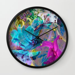 Bright fantasy composition on a theme of flowers and abstract figures Wall Clock