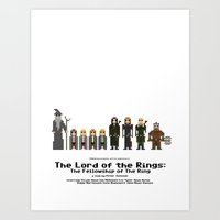 lotr Art Prints featuring 8-bit LOTR The Fellowship of The Ring by MrHellstorm