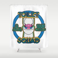 toilet Shower Curtains featuring Toilet Squad by Justin Kedl