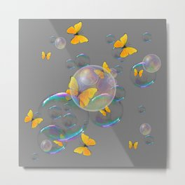 #2 YELLOW BUTTERFLIES  & SOAP BUBBLES GREY COLOR Metal Print