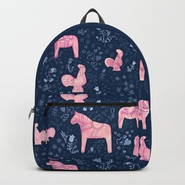 Swedish Dala Horse and Rooster Blue and Pink Pattern Backpack