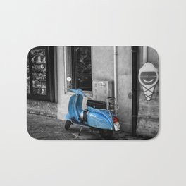 Blue Vespa in Venice Black and White Color Splash Photography Bath Mat