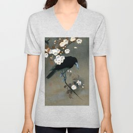 Vintage Japanese Crow and Blossom Woodblock Print Unisex V-Neck