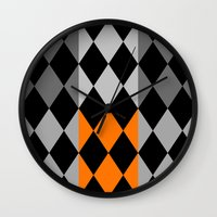 orange pattern Wall Clocks featuring Pattern orange by LoRo  Art & Pictures