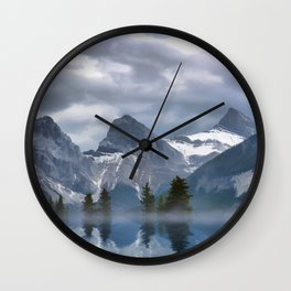 Sisterhood - The Three Sisters, Canmore Alberta, Canada Wall Clock