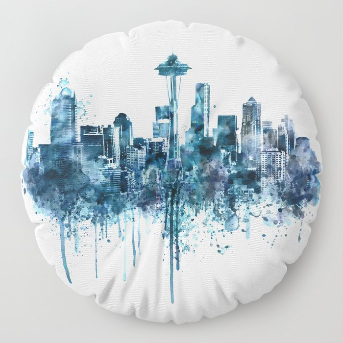 Seattle Skyline monochrome watercolor Floor Pillow