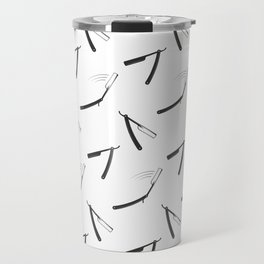 Barbershop pattern with shaving razor Travel Mug