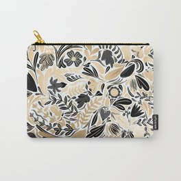 Gold Black Floral Leaves Illustration Pattern Carry-All Pouch