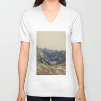 typography V-neck T-shirts featuring Mountain Flowers by Kurt Rahn