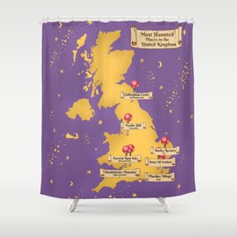 Map Of the Most Haunted Locations of the United Kingdom. Shower Curtain