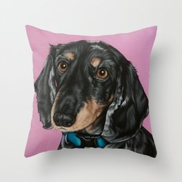 Sweet Double Dapple Dachshund Portrait, Weiner Dog Painting, Dachshund Painting Throw Pillow
