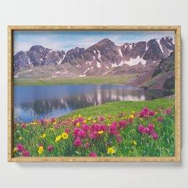 Indian paintbrush/Alpine Lake below Independence Pass, Colorado Serving Tray