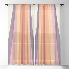Velvet Morning Retro Stripes Sheer Curtain