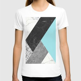 Black and White Marbles and Pantone Island Paradise Color T-shirt