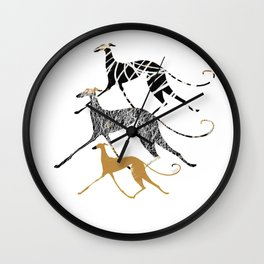 Sighthound In Ink Art Wall Clock