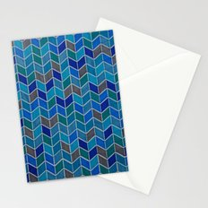 Blue and grey hue chevron Stationery Cards