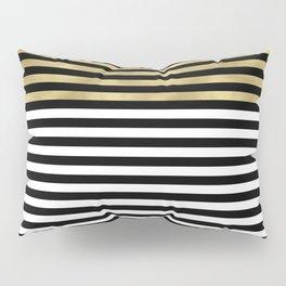 Chic Black, Gold and White Stripes Pillow Sham