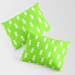 White Cat Polka Dot Pattern Isolated on Lime Green Pillow Sham