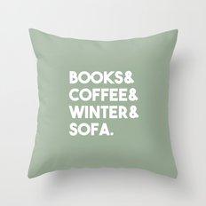 Books, coffee, winter, sofa Throw Pillow