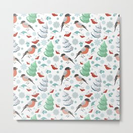 Winter birds white pattern Metal Print