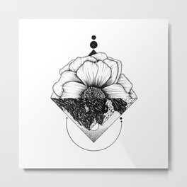 Turn Your World Over - Floral Geometry Metal Print